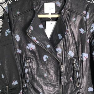 JOIE BUTTERY LEATHER FLOWERED WORK OF ART JACKET